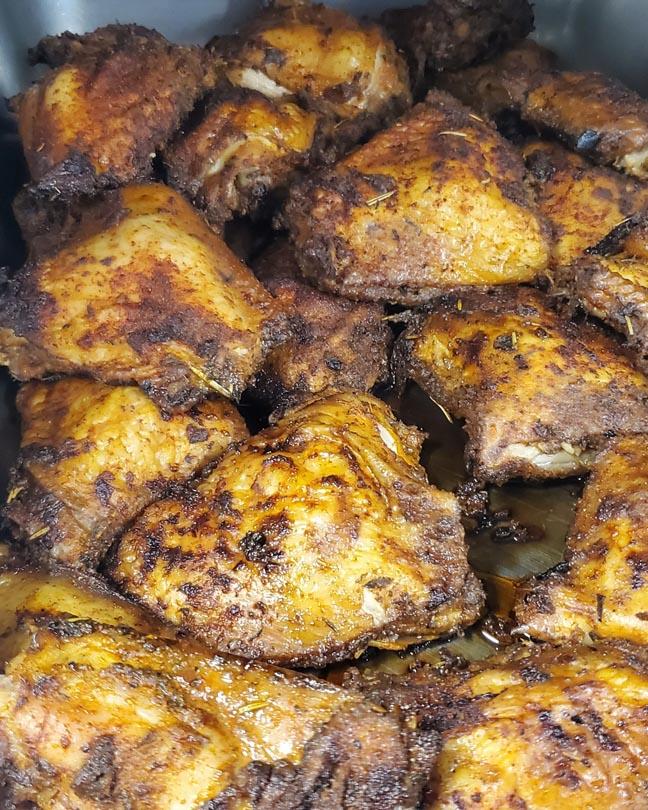Franks Backyard BBQ Cedar Lake Indiana Smoked Chicken Thighs